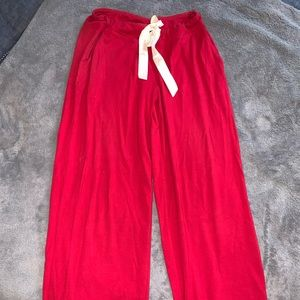 Soma Red Wide Leg Pajama Pants with White Silk Tie